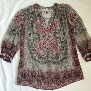Joie 3/4 Length Sleeves Paisley Top Shirt Small S